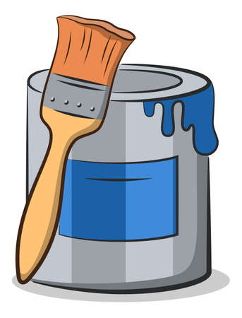 Cartoon Tools for Apartment Repairs, Blue Paint Can and Paint Brush. Vector Illustration