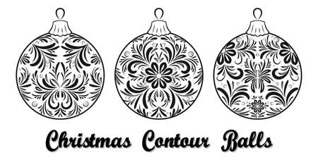 Christmas Holiday Decoration, Set Balls with Floral Pattern, Contours. Vector Illustration