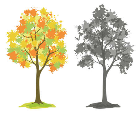 Symbolic Trees with Crowns of Blots, Colorful Autumn and Black and Gray Silhouette Isolated on White Background. Vector
