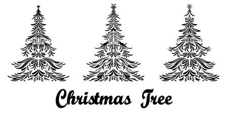Set Christmas Holiday Fir Trees with Stars, Black Contours Isolated On White Background. Vector