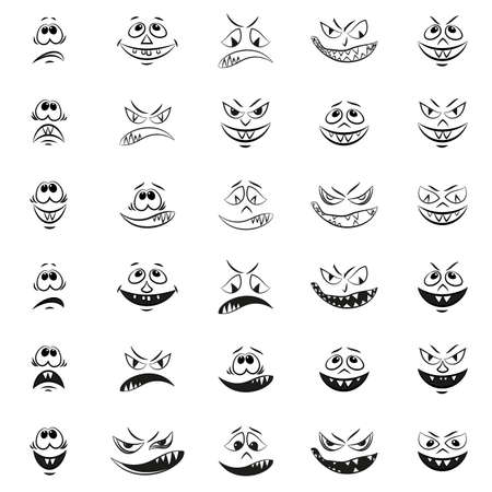 Set of Funny Smilies, Monsters Faces with Various Human Emotions, Cartoon Characters, Black Contours Isolated on White Background. Vector