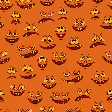 Seamless Pattern, Cartoon Characters, Funny Smiles, Monsters Faces with Various Human Emotions, Tile Background. Vector