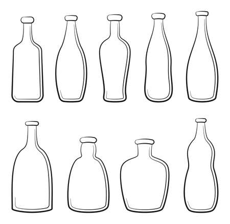 Set of Vintage Bottles, Black Contours Isolated on White Background. Vector Illustration