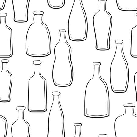 Seamless Pattern, Vintage Bottles Black Contours Isolated on White Background. Vector