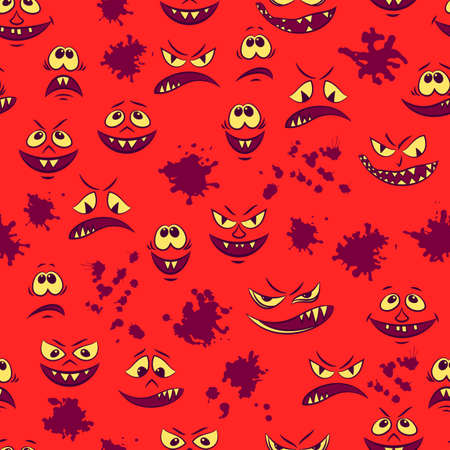 Seamless Pattern, Cartoon Characters, Funny Smiles, Monsters Faces with Various Human Emotions, Tile Red Background with Blots. Vector Illustration