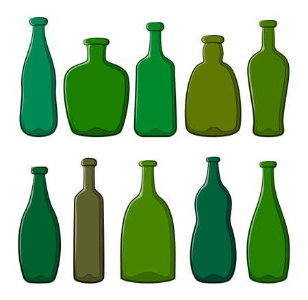 Set of Green Vintage Bottles Isolated on White Background. Vector Illustration