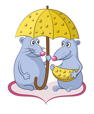 Cartoon Animals, Mice with Tails in the Shape of a Heart Under the Umbrella of the Cheese, Isolated on White Background. Vector Illustration