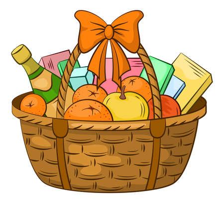 A Wattled Basket with Holiday Gifts, Fruits, Boxes and a Bottle of Champagne Wine. Vector