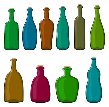 Set of Vintage Bottles Isolated on White Background. Vector