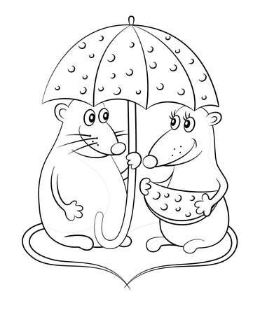 Cartoon Animals, Mice with Tails in the Shape of a Heart under the Umbrella of the Cheese, Black Contours Isolated on White Background. Vector