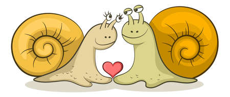 Cartoon snails with red heart on white Illustration