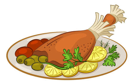 Chicken Leg with Garnish, Cherry Tomatoes, Olives, Lemons and Parsley on a Platter, Isolated on White Background. Vector Illustration