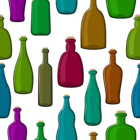 Seamless Pattern, Colorful Vintage Bottles on Tile White Background. Vector