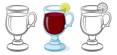 Glasses Goblets with a Drink and Lemon, Color and Black Contour Pictograms on White Background. Vector Illustration
