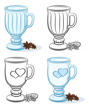Glasses Goblets with a Pattern of Valentine Holiday Hearts and Decorated with Brown Flowers and Citrus Fruits, Blue and Black Contour Pictograms on White Background. Vector Illustration