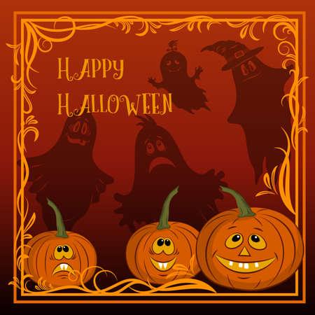 Halloween Pumpkins and Ghosts Illustration