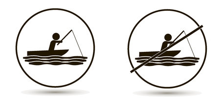Vector man swims in the sea or river and catches fish. Set of icons. On a white background Illustration