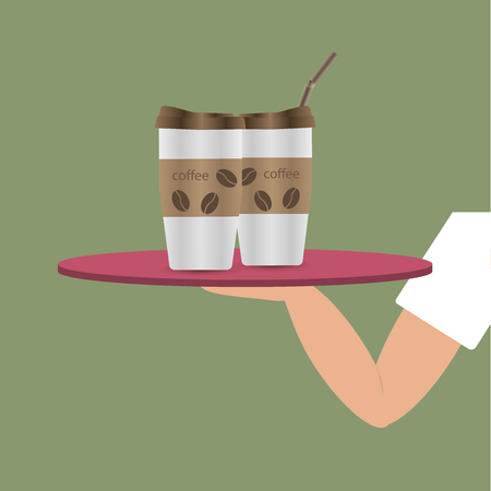 The waiters hand holding a tray with a cup of coffee. Cartoon Illustration