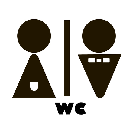 WC / Toilet door plate icon set. Illustration