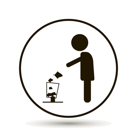 Man throwing garbage in a basket vector icon. on a white background