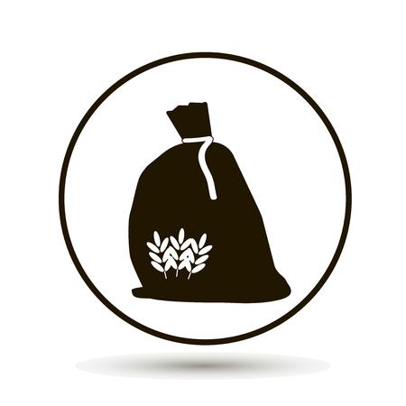 小麦粉の袋。穀物小麦、オート麦、ライ麦  イラスト・ベクター素材