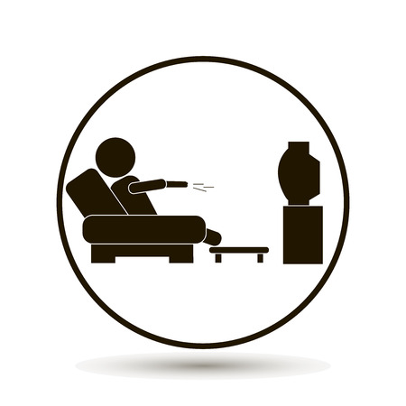 The man is watching TV. A man sits on the floor and watches a television program. Vector icons, illustration on white background.