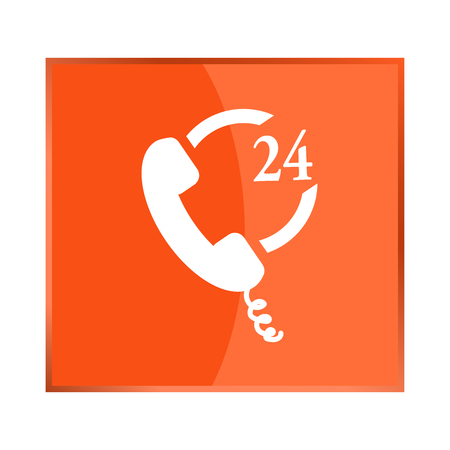Vector icon indicates the availability of telephone communication, which can be used 24 hours, at any time Ilustração