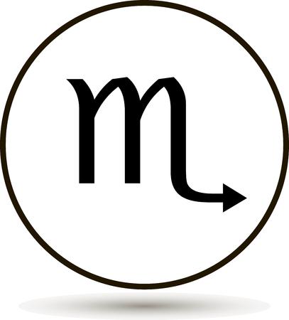 Scorpio zodiac sign. Astrological symbol icon in circle. On white background.