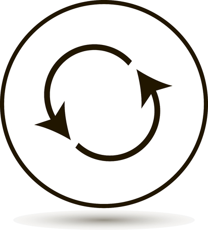abstract recycle arrows: Icon circulating. Reset button, reload icon. Black icon on a white background