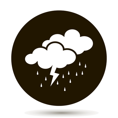 Weather forecast. Clouds of rain and thunder. Cloud thunderstorm lightning rain icon. White icon on a black background
