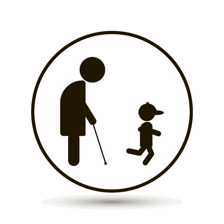 An elderly man, a pensioner walks with his young grandson Illustration