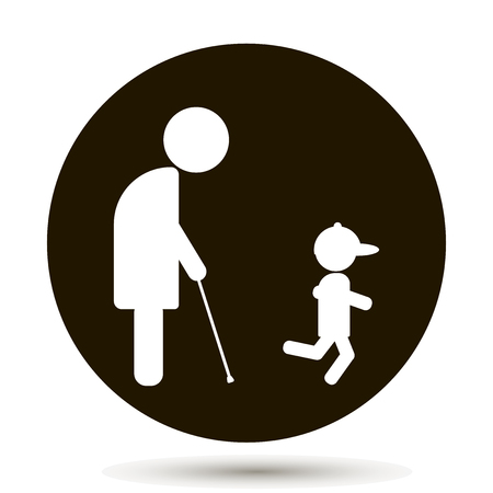 grandson: An elderly man, a pensioner walks with his young grandson Illustration