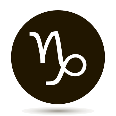 Capricorn zodiac sign. Astrological symbol icon in circle. On black background. 일러스트