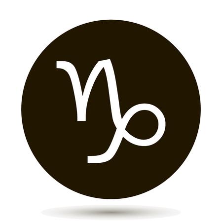 Capricorn zodiac sign. Astrological symbol icon in circle. On black background. Иллюстрация