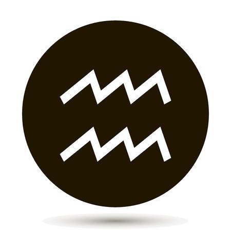 Aquarius zodiac sign. Astrological symbol icon in circle. On black background. 일러스트