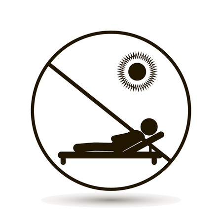 Icon forbidding to be on the beach, prohibiting sunbathing. Vector illustration on white background