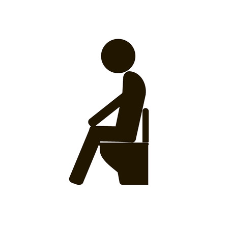 Icon man sitting on the toilet on a white background