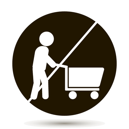 A ban on walking with the cart with the products. No Shopping Cart Sign. With the cart is not allowed. Vector illustration on black background Ilustrace