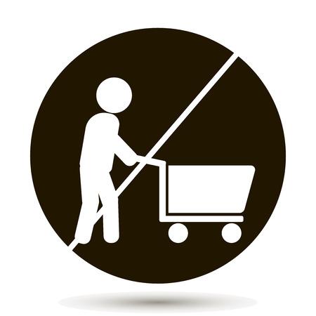 mujer en el supermercado: Una prohibición de caminar con el carrito con los productos. No hay signo de Carrito de Compras. Con el carrito no está permitido. Ilustración vectorial sobre fondo negro