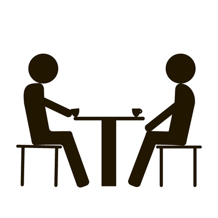 Icon 2 people sit at the table on a white background
