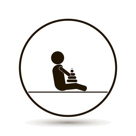 Il bambino sta giocando un giocattolo. La stanza dei bambini. Sala giochi per bambini Illustrazione vettoriale su sfondo bianco. Archivio Fotografico - 79562447