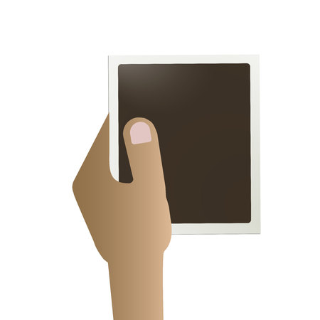 instant film transfer: A hand holds a frame for a photo