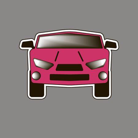 The pink car Sticker. Illusztráció
