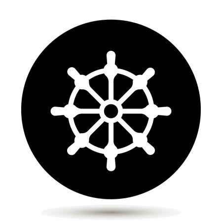 Ship wheel. Boat steering wheel icon. Vector illustration on black background