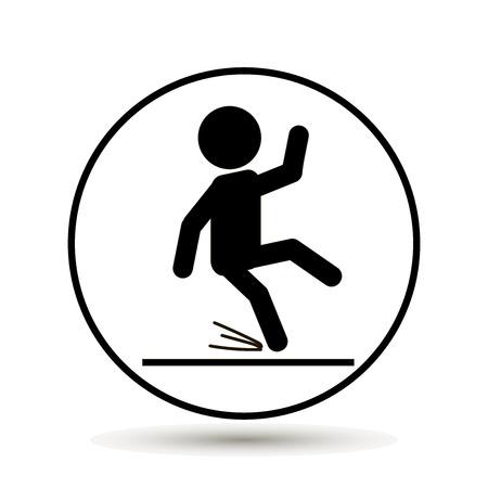 slip homme: Signe d'avertissement de plancher humide Illustration vectorielle