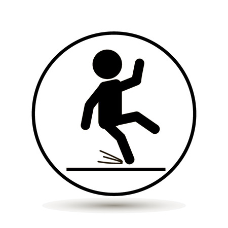 dangerous man: Wet Floor Warning Sign Vector illustration