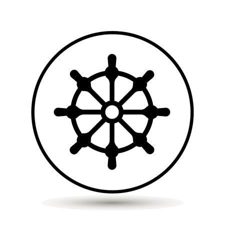 Boat steering wheel icon Vector illustration