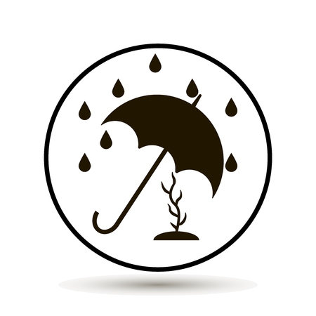 umbrella protects plants from rain and adverse rainfall Illustration