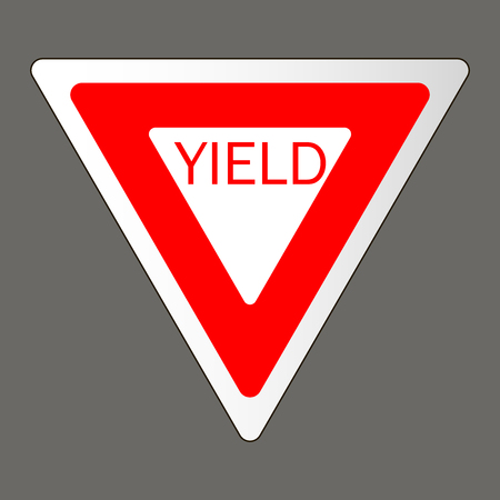Vector illustration of a yield road sign in the United States. Illustration