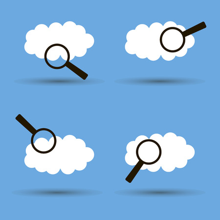 Set. Cloud and magnifier search. Silhouette flat icon. Illustration for weather forecast, weather research.
